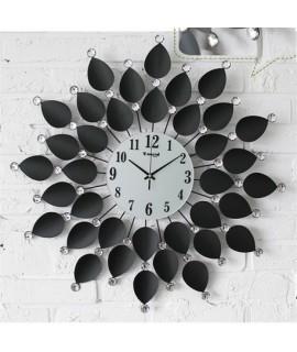 1204 Nástenné hodiny Black Flower Crystal