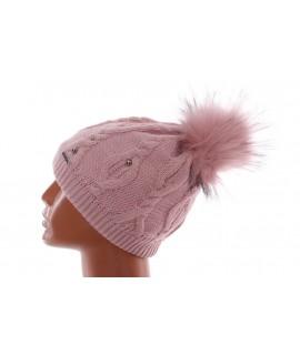 Dámska zateplená čiapka s korálkami - ružová