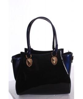 Dámska elegantná kabelka lakovaná a trblietavá (8605) - modrá (31x26x11 cm)