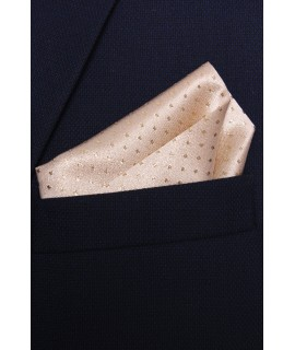 Pánska vreckovka do obleku vzorovaná - šampanskej farby 1. (28x28 cm)