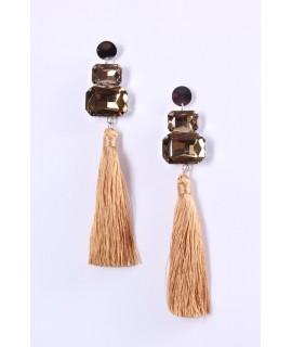 Náušnice s kamienkami a so strapcami - béžové (12,5 cm)