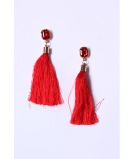 Náušnice so strapcami - červené (10 cm)