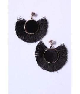 Náušnice so strapcami VZOR 1. - čierne (5 cm)