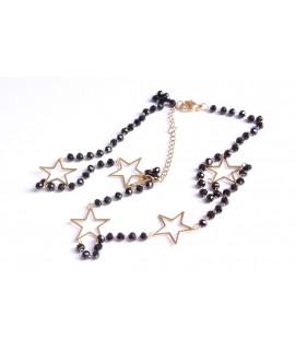 Náhrdelník s hviezdičkami - čierny