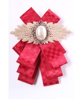 Dámska mašľa na krk s perlovým kamienkom - bordová