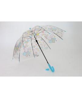 Detský vystreľovací dáždnik s píšťalkou FEELING RAING 191021 UNICORN - modrý (p. 95cm)