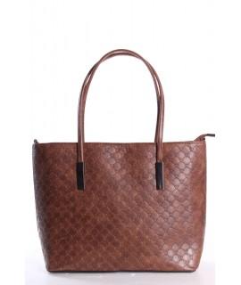 Dámska kabelka (11029-6) vzorovaná - hnedá (35x29x11,5 cm)