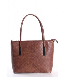 Dámska kabelka (11029-6) vzorovaná - hnedá (28x23x7,5 cm)