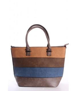 Dámska kabelka (795) s farebnými pásikmi - sivo-hnedá (40x29x14 cm)