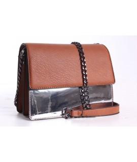 Dámska kabelka (60996) - strieborno-hnedá(20,5x16x10 cm)
