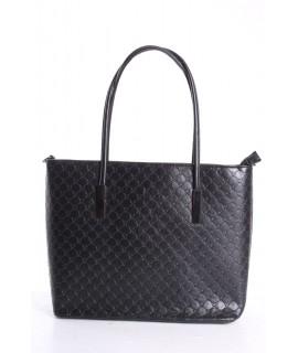 Dámska kabelka (11029-6) vzorovaná - čierna (35x29x11,5 cm)