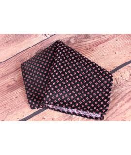 Pánska vreckovka do obleku (20x20 cm) vzorovaná - kocky - ružovo-čierna
