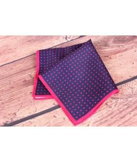Pánska vreckovka do obleku (23x23 cm) bodkovaná - jahodovo-tmavomodrá
