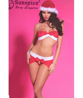 Dámska erotická vianočná súprava (SD106) - bielo-červená