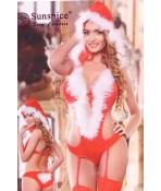 Dámska erotická vianočná súprava (SD101) - bielo-červená