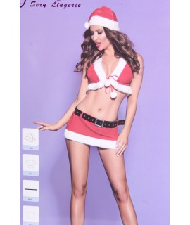 Dámska erotická vianočná súprava (SD112) - bielo-červená