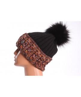 Dámska zateplená čiapka s farebným paspólom - oranžovo-čierna