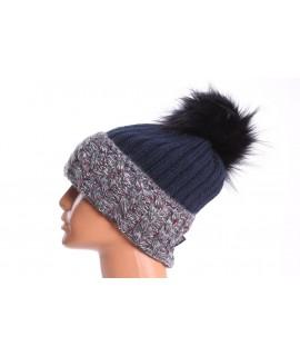 Dámska zateplená čiapka s farebným paspólom - sivo-tmavomodrá