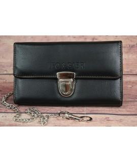 Čašnícka peňaženka s retiazkou LEO&SABRI 0684-1 (18x11 cm) - čierna