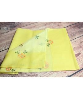 Dámsky šál s vyšívaným vzorom 22341 - žltý (70x180 cm)