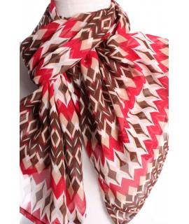 Dámsky šál vzorovaný (70x160 cm) - červeno-hnedý