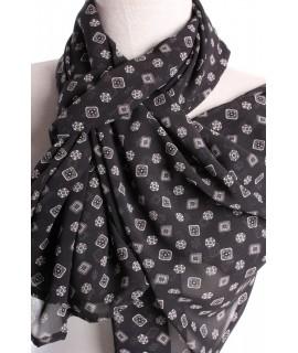 Dámsky šál vzorovaný (70x155 cm) - čierny