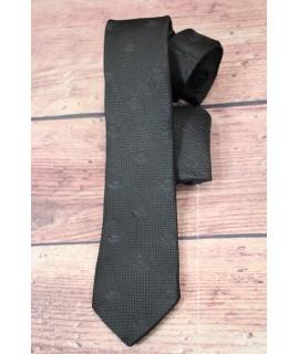 Kravata vzorovaná s kruhmi a s vreckovkou do saka - čierna (š. 7cm)