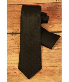 Kravata vzorovaná a s vreckovkou do saka - čierna (š. 7cm)