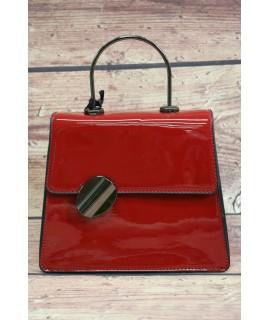 Dámska kabelka lakovaná s ozdobou PH1202 červená (17x19x7,5cm)
