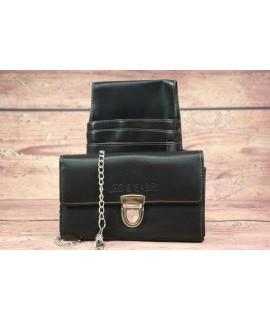 Čašnícka peňaženka s puzdrom LEO & SABRI- čierna (11x18 cm)