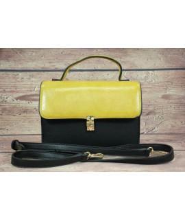 Dámska kabelka (ZH-392) - žlto-čierna (21x15x8 cm)