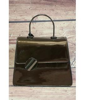 Dámska kabelka lakovaná s ozdobou PH1202 - hnedá (17x19x7,5 cm)