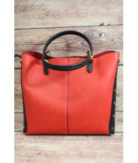 Dámska kabelka prešívaná (D3955) - čierno-červená (30x27x12 cm)