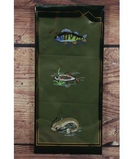 Vreckovky v darčekovom balení s rybárskym vzorom - zelené (3ks-40,5x40,5 cm)