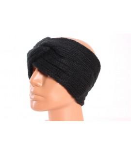 Dámska pletená čelenka (B-13) - čierna