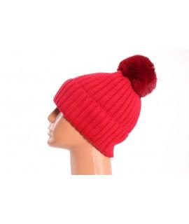 Dámska pletená čiapka s brmbolcom (9-276B) - červená