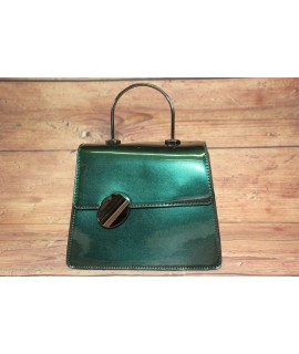 Dámska kabelka lakovaná s ozdobou PH1202 - zelená (17x19x7,5 cm)