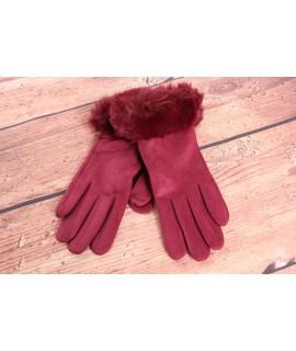 Dámske rukavice (7527) - bordové