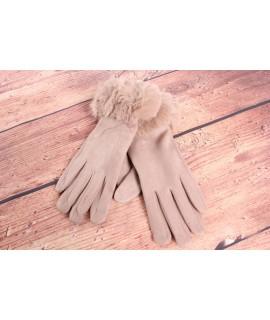 Dámske rukavice (7527) - béžové