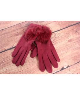 Dámske rukavice (7528) - bordové