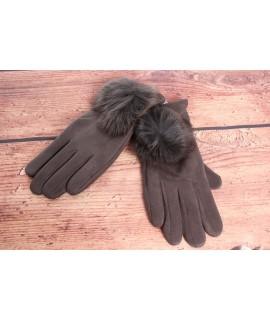 Dámske rukavice (7528) - tmavosivé