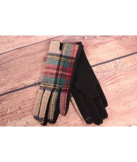 Dámske rukavice (7542) - béžovo-čierne