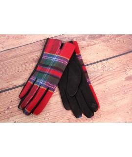 Dámske rukavice (7542) - červeno-čierne