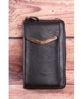 Dámska peňaženka s púzdrom na mobil - čierna (11x17x5 cm)