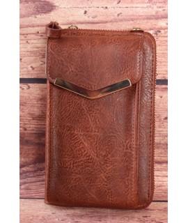 Dámska peňaženka s púzdrom na mobil - tmavohnedá (11x17x5 cm)