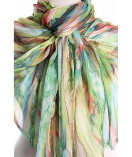 Dámsky šál viacfarebný (22281) so zeleným nádychom (178x75 cm)