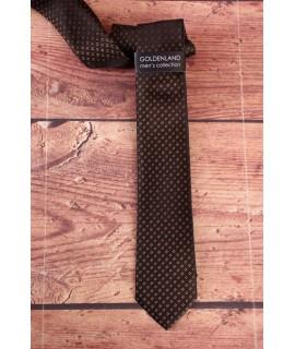 Pánska kravata - čierna s hnedým vzorom  (5,5cm)
