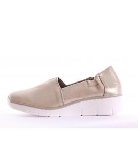 Dámska kožená športová obuv RIEKER (53771-62) - zlatá (v. 3 cm)