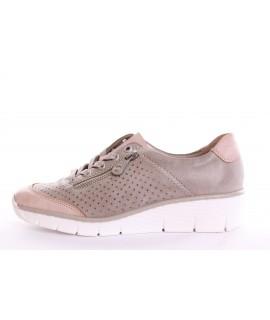 Dámska športová obuv RIEKER (53725-32) - ružovo-sivá (v. 4,5 cm)
