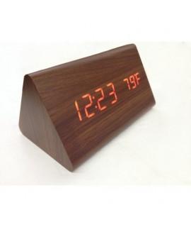 8465 Drevené LCD hodiny s dátumom, budíkom a teplotou Tmavo hnedá